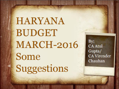 Haryana budget March-2016 some suggestions